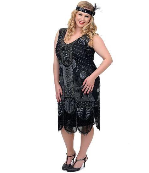 flapper beaded dress unique vintage plus size 1920s style black beaded fringe