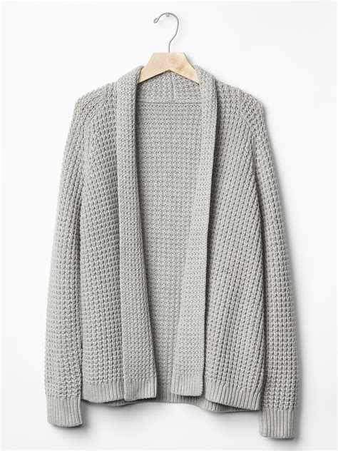 open knit cardigan gap chunky knit open front cardigan in beige grey
