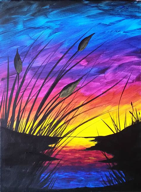 how to paint using acrylic paint on canvas sunset and cattails reboot step by step acrylic painting
