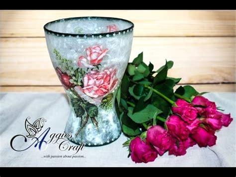 how to decoupage a vase decoupage tutorial glass flower vase