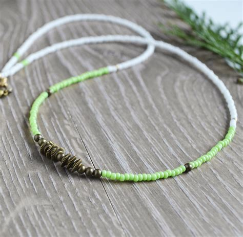 seed bead jewelry beaded necklace kiwi green necklace seed bead