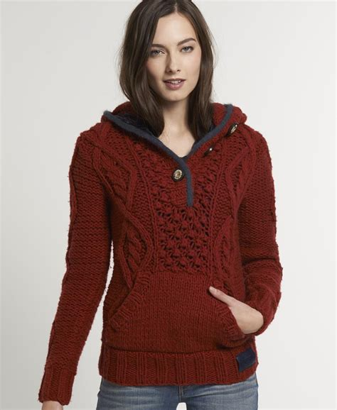 knitted hoodies new womens superdry verbier knit hoodie kvh ebay