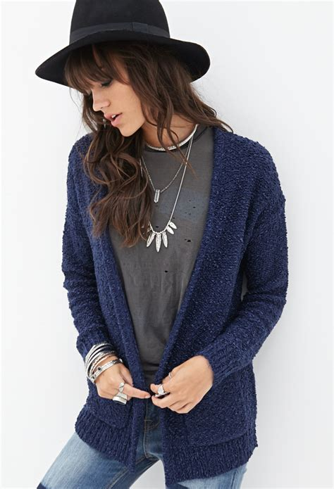 knit cardigan forever 21 forever 21 textured knit cardigan in blue navy lyst