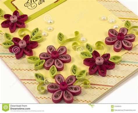 paper flowers for card hande made post card stock photo image 31043910