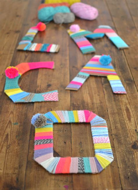craft thread projects yarn wrapped cardboard letters artbar