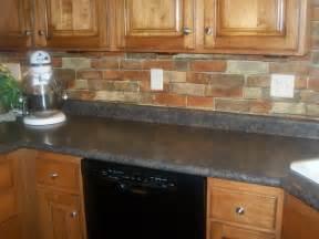 Kitchen Tile Designs Behind Stove red brick backsplash for narrow kitchen design with oak