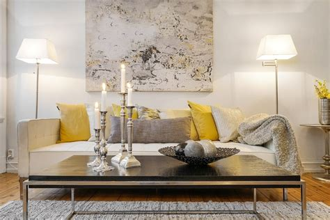 scandinavian home interior inspiration grey and yellow as seen in