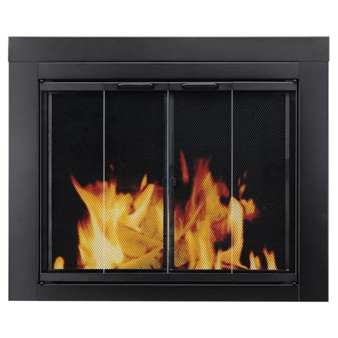 fireplace screen with glass doors shop pleasant hearth ascot black large bi fold fireplace