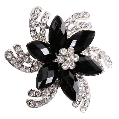 pins for jewelry flower brooch big black rhinestone brooches pins for