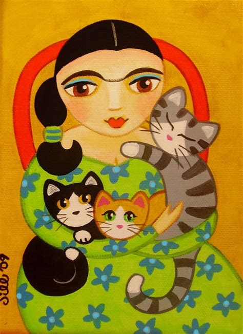 cat painting viva frida kahlo 3 cats folk print from original painting by