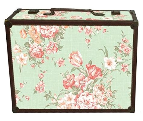 shabby chic suitcase shabby chic green floral design suitcase large