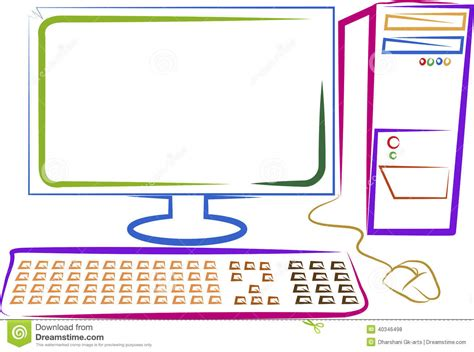 drawing on computer computer stock vector image 40346498
