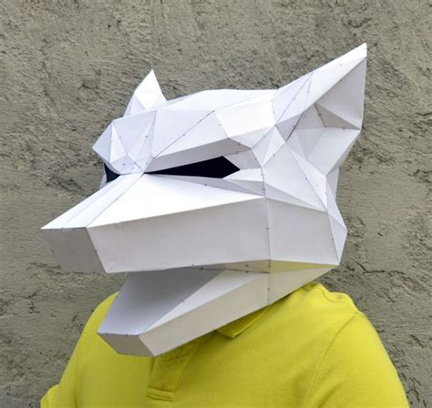 origami fox mask make your own geometric animal mask bored panda
