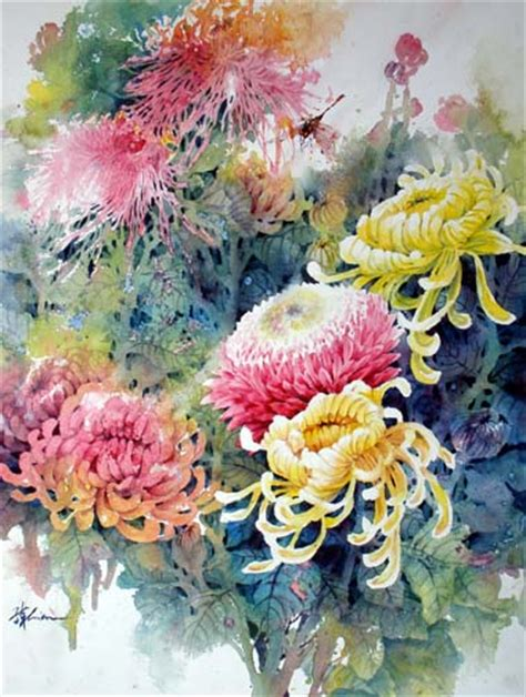 painting lessons flowers watercolor chrysanthemum flower painting lesson