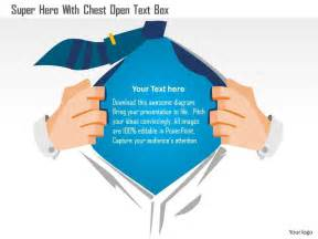 0115 super hero with chest open text box powerpoint template
