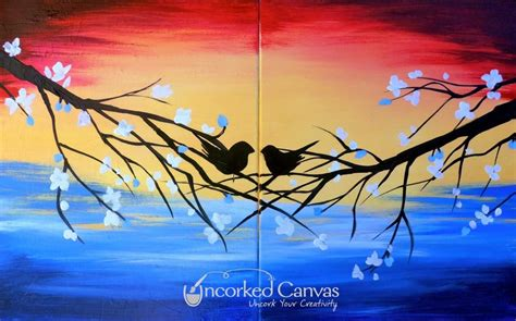 paint nite date s birds uncorked canvas