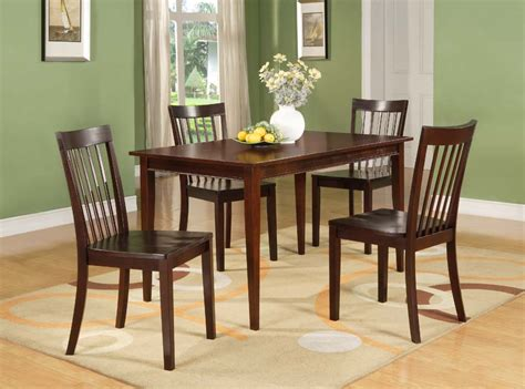 cherry wood dining room furniture cherry finish wood dining room kitchen rectangular table 4 chairs new ebay
