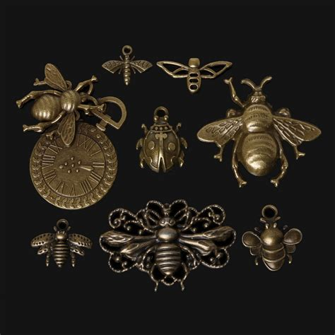 findings for jewelry 46pcs zinc alloy bee charms pendant antique bronze