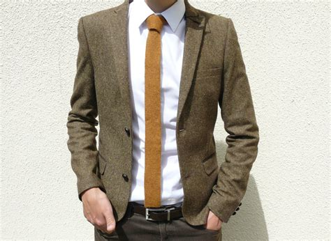 brown knit tie knitted tie in golden mustard brown lambswool made to