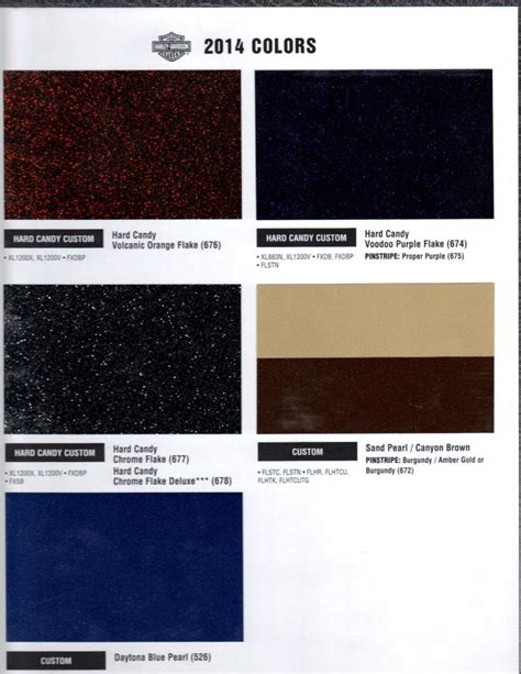paint colors for harley 2014 color chart page 5 harley davidson forums
