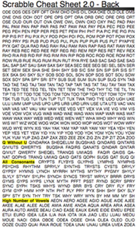 words without vowels scrabble pda scrabble sheet netninja