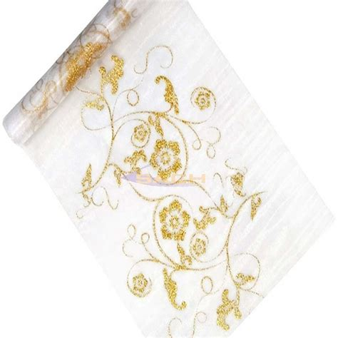 gold organza table runner organza table runner in white with gold brocade decoration