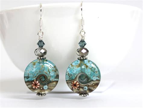 handmade beaded earrings amazing seascape handmade bead earrings felt