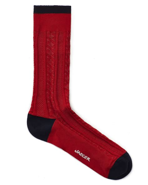 cable knit socks jaeger festive cable knit socks in for lyst
