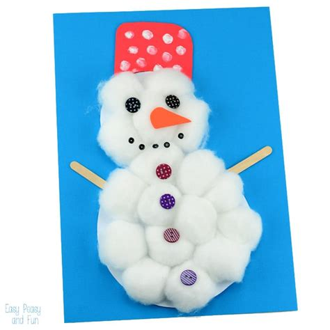 snowman craft cotton snowman craft easy peasy and