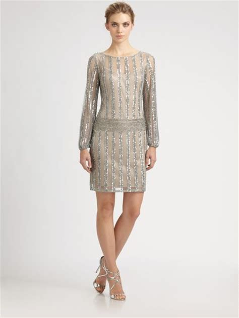 beaded silver dress aidan mattox beaded sequined dress in silver lyst
