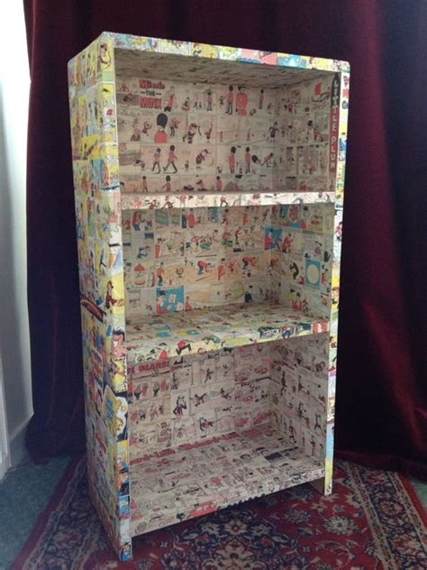 decoupage book decoupage comic bookcase diy decoupage