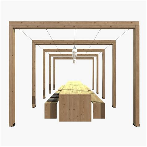 pergola with bench pergola with wooden table bench lights 3d model max obj