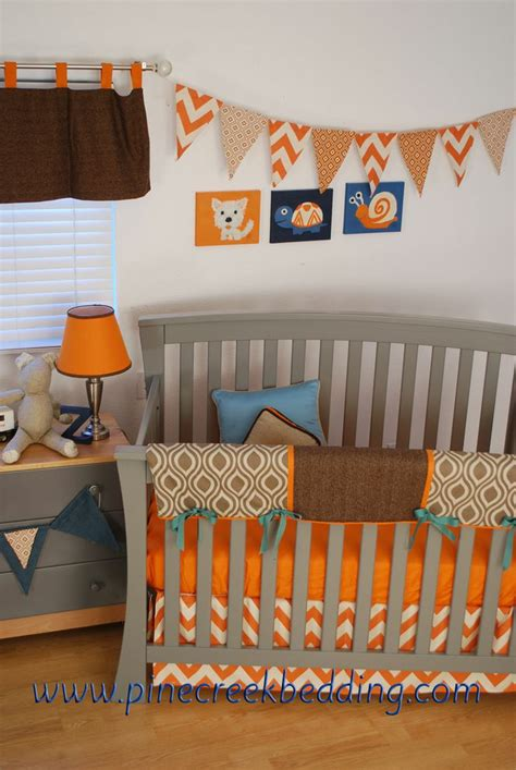 crib bedding orange orange aqua and brown crib bedding zig zag chevrons in