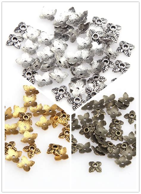 wholesale in bulk wholesale 100pcs in bulk gold leaf metal bead caps silver