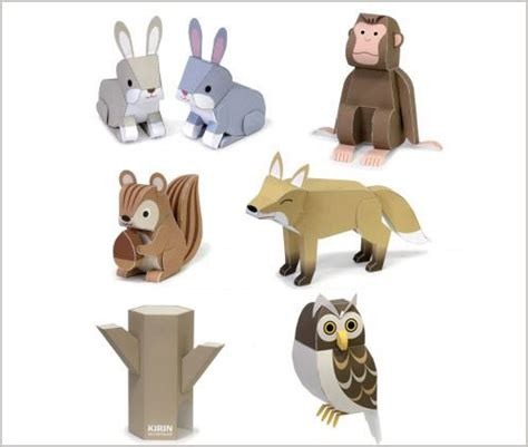 paper craft animals paper owl template owl squirrel fox monkey and