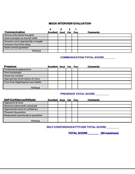 use this form to evaluate your next mock interview