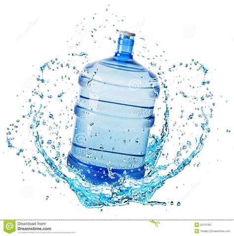 big water big water bottle in water splash isolated on white