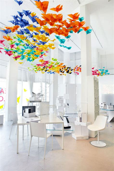 origami installation heavenly origami installation by elixr and interiors
