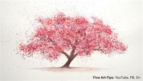 how to paint a cherry tree in watercolor splatter painting trees paint a tree