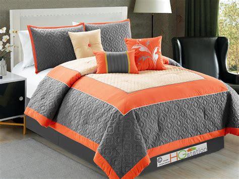 gray and orange comforter set 7 pc trellis floral flocking clover comforter set orange