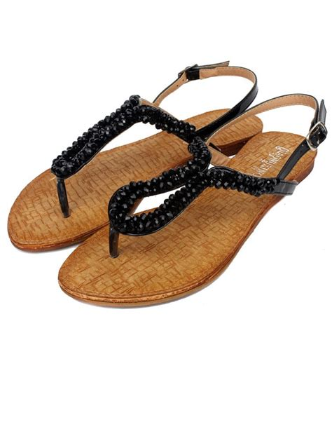 beaded sandals sale belt buckle beaded black flat sandals