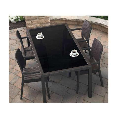 table de jardin rectangulaire en r 233 sine tress 233 e et verre tahiti 4 pieds tables chaises et