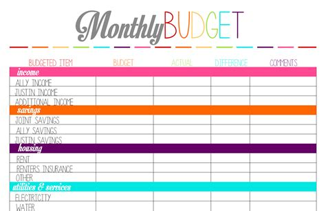 for printable best photos of free monthly household budget worksheet
