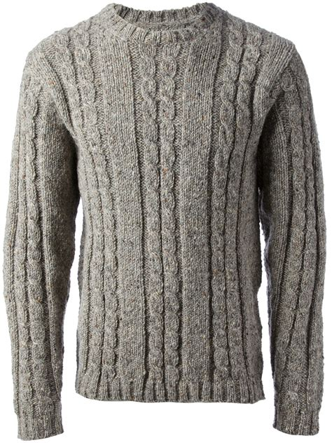 grey cable knit sweater mr start cable knit sweater in gray for grey lyst