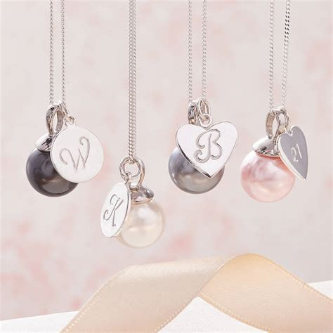 pearl pendants for jewelry pearl pendant necklace in silver with initial by claudette