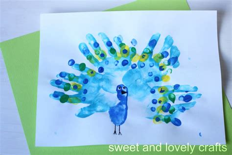 peacock craft for sweet and lovely crafts handprint peacocks