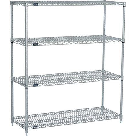 nexel wire shelving nexel 4 shelf wire shelving unit silver finish 24 quot w x 48