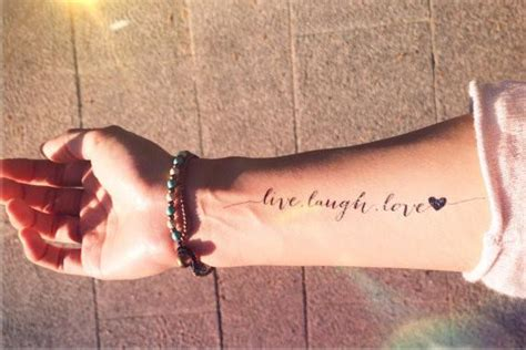 live laugh love inknartshop designer temporary tattoo