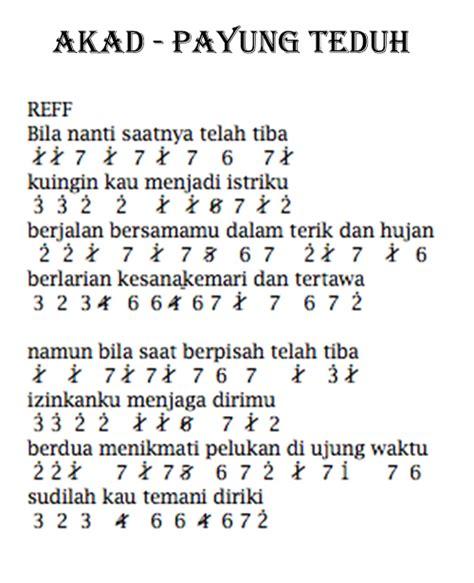 lirik lagu bukti inilah not angka dan lirik lagu akad payung teduh
