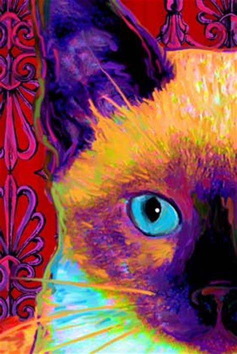 rainbow cat painting siamese cat